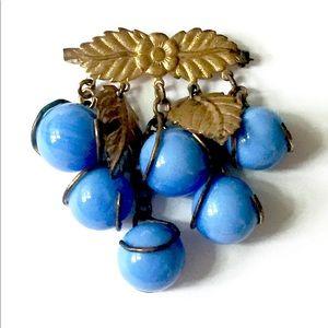 Antique Blue Art Glass Dangle Brooch